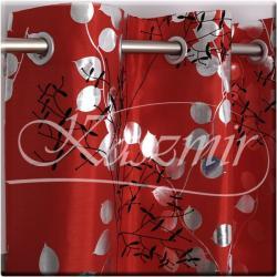 Gotowa zasłona na przelotkach Srebrne listki 250x150 czerwień, czerwone OGRANICZONA ILOŚĆ...