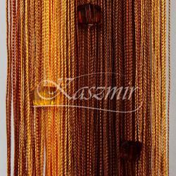 Firany sznurki, frędzle cieniowane z koralikami odcienie brązu 250x145 + woreczek...
