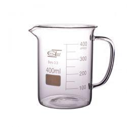 [2458] Zlewka szklana niska z uchem 400 ml - 1 szt Nieskategoryzowane