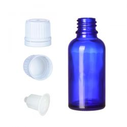 BP30 Butelka szklana niebieska z kroplomierzem i nakrętką z plombą 30 ml