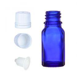 Butelka szklana niebieska z kroplomierzem i nakrętką z plombą 10 ml