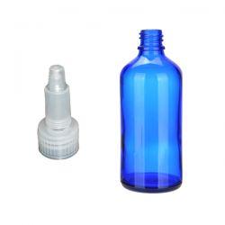 Butelka szklana niebieska z zakraplaczem 100 ml  Nieskategoryzowane