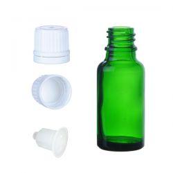 BP30Z Butelka szklana zielona z kroplomierzem i nakrętką z plombą 30 ml