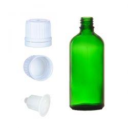 Butelka szklana zielona z kroplomierzem i nakrętką z plombą 100 ml