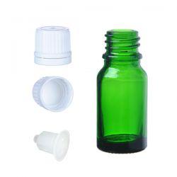 Butelka szklana zielona z kroplomierzem i nakrętką z plombą 15 ml Nieskategoryzowane