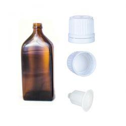 Butelka szklana płaska brązowa z kroplomierzem i nakrętką z plombą 50 ml - 1 szt Pozostałe