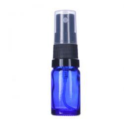 [3412] Butelka szklana niebieska z czarnym atomizerem 5 ml Laboratorium
