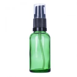 [3404] Butelka szklana zielona z pompką do kremu 30 ml Zdrowie i Uroda