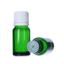 [6020] Butelka szklana zielona z kroplomierzem i nakrętką z plombą 10 ml - 5 szt Zdrowie i Uroda