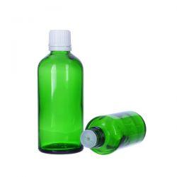 [6023] Butelka szklana zielona z kroplomierzem i nakrętką z plombą 50 ml - 5 szt Zdrowie i Uroda