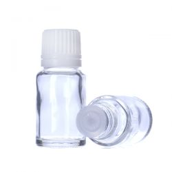 [7021] Butelka szklana bezbarwna z kroplomierzem i nakrętką z plombą 10 ml - 5 szt Zdrowie i Uroda