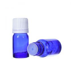 [8020] Butelka szklana niebieska z kroplomierzem i nakrętką z plombą 5 ml - 5 szt Zdrowie i Uroda