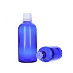 [8024] Butelka szklana niebieska z kroplomierzem i nakrętką z plombą 100 ml - 5 szt Zdrowie i Uroda