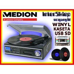 GRAMOFON ZGRAJ PŁYTY WINYL I KASETY NA MP3 SD USB