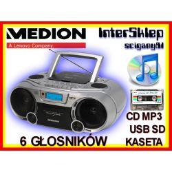 BOOMBOX KOMBAJN MEDION RADIO CD MP3 USB KASETA !