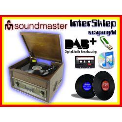 GRAMOFON RETRO WINYL CD USB RADIO DAB+ KASETA