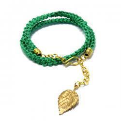 Crochet - zielona z listkiem