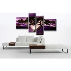 """Obraz ręcznie malowany farbami akrylowymi na płótnie - 55 - """"Fioletowy poranek"""""""