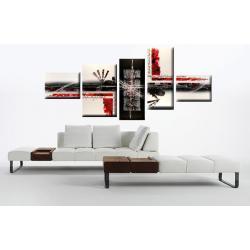 """Obraz ręcznie malowany farbami akrylowymi na płótnie - 794 - """"Abstrakcja red city"""""""