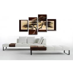 """Obraz ręcznie malowany farbami akrylowymi na płótnie - 451 - """"Samotne drzewo rama"""""""