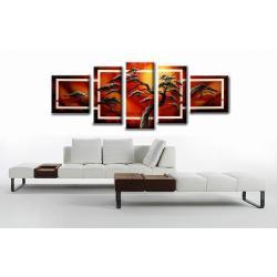 """Obraz ręcznie malowany farbami akrylowymi na płótnie - 317 - """"Safari afryka red"""""""