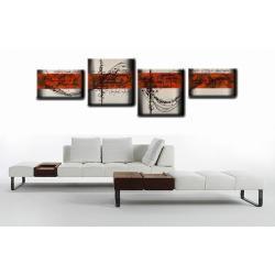 """Obraz ręcznie malowany farbami akrylowymi na płótnie - 898 - """"Czerwone rytmy"""""""