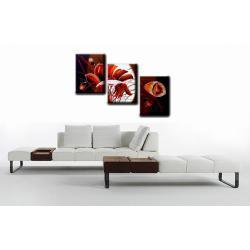 """Obraz ręcznie malowany farbami akrylowymi na płótnie - 119A- """"Kwiaty maki polne red"""""""