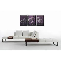 """Obraz ręcznie malowany farbami akrylowymi na płótnie - 38A - """"Kwiaty kule dmuchawce fiolet"""""""