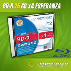 BluRay BD-R ESPERANZA 25GB x4 - Slim case 1 szt....