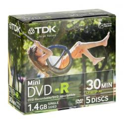 DVD-R TDK 1.4GB Mini DVD 8cm 2X SWING DESIGN 5XBOX...