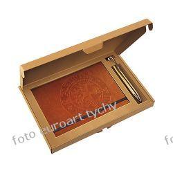 Zestaw prezentowy brązowy notes z długopisem w opakowaniu Kalendarze książkowe