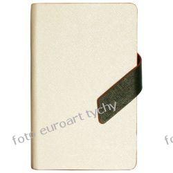 Notatnik z zapinką notes A6 w linie w ekoskórze biały Kalendarze ścienne