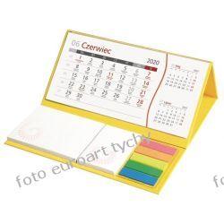 2020 żółty kalendarz biurkowy z notesami  Kalendarze książkowe