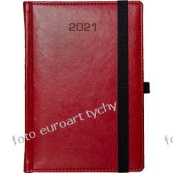 2021 terminarz A5 dzienny kalendarz z gumką czerwony Adresowniki, pamiętniki