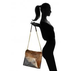 Skórzana torba z futrem lisa