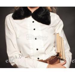 Biala bluzka z futrzanym kolnierzem