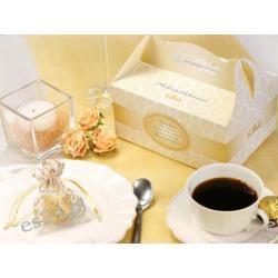 Ozdobne pudełko na ciasto weselne, złoto - kremowe