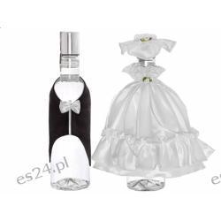 Ubranko na wódkę sukienka z kapeluszem i muszka w woreczku