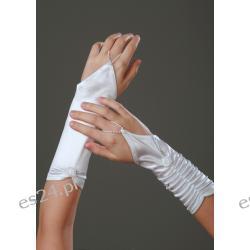 Rękawiczki  komunijne , z  lycry  atłasowej