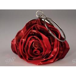 Torebka z satynową różą - bordowa