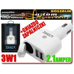 Ładowarka samochodowa 2.1A 2x USB do nawigacji GPS