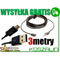 Długi kabel USB 3metry HUAWEI ASCEND W1 P1 P6 G510