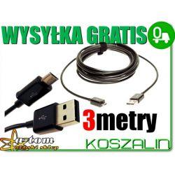 Długi kabel USB 3metry NOKIA ASHA 500 501 502 503