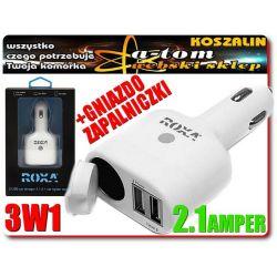 Ładowarka samochodowa 2x USB +gniazdo zapalniczki