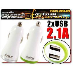 PODWÓJNA Ładowarka Samochodowa USB 2.1 A GSM GPS