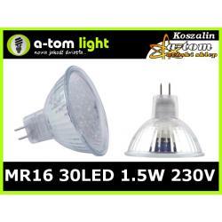 Żarówka MR16 30 led 1.5W halogen 230V ciepła biała