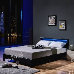 Łóżko LED Astro 140/200 cm Czarne  Kanapy