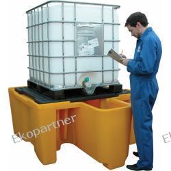 Paleta (wanna) wychwytowa, polietylenowa, 1*IBC/KTC, zintegrowany przedział roboczy, kratownica, 1120 litrów, żółta Pozostałe