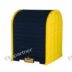Stanowisko robocze, polietylenowe Mini Magazyn, Eco 55%, 301 litrów, 4 beczki, żółte/czarne, EU