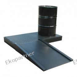 Paleta (wanna) wychwytowa, polietylenowa, platforma robocza LOW, 2 beczki, 112 litrów, czarna